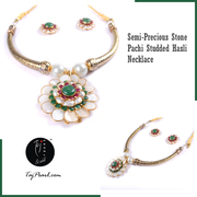 Semi Precious- Hasli Set from online jewellery store Taj Pearl.