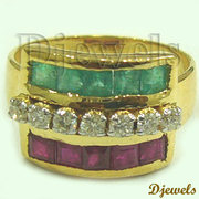 Natural Diamond & Ruby~Emerald Ladies Ring for Sale Price - 10920/-